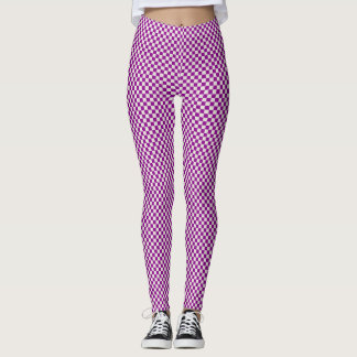 BEAUTIFUL PURPLE CHEQUERED PRINTED LEGGINGS