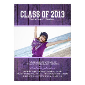 Beautiful Purple Class of 2013 Graduation Custom Invitation