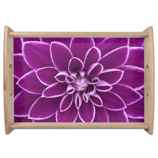 Beautiful purple dahlia flower serving tray