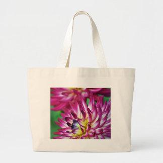 Beautiful purple dahlia print canvas bags