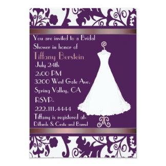 Beautiful Purple Damask Bridal Shower Invitation