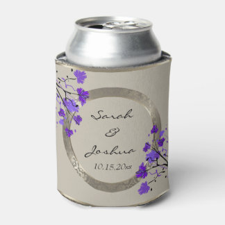 Beautiful Purple Floral & Antique Silver Damask Can Cooler