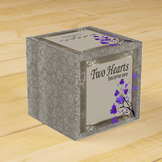 Beautiful Purple Floral & Antique Silver Damask Favour Box