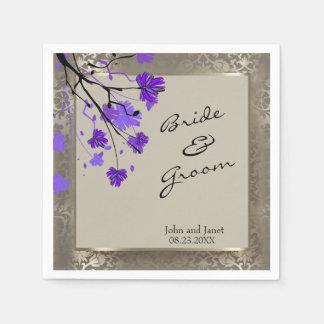 Beautiful Purple Floral & Antique Silver Damask Paper Napkin