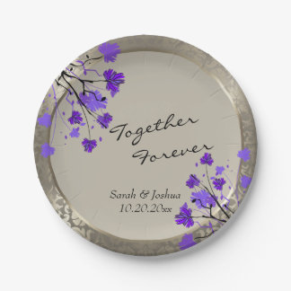 Beautiful Purple Floral & Antique Silver Damask Paper Plate