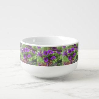 Beautiful Purple Floral Soup Bowl