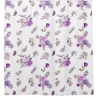 Beautiful purple flowers on shower curtain