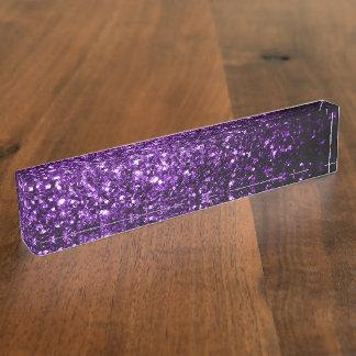 Beautiful Purple glitter sparkles Desk Nameplate
