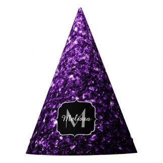 Beautiful Purple glitter sparkles Monogram Party Hat
