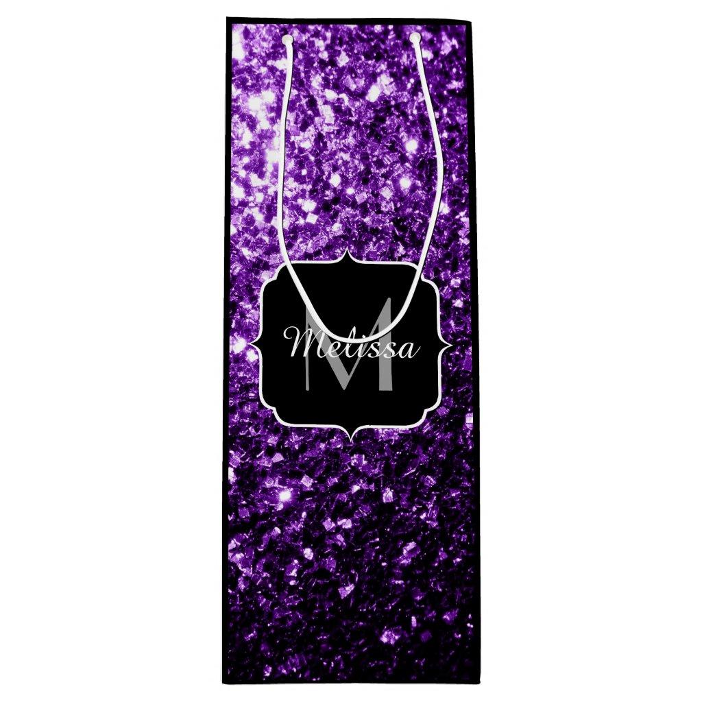 Beautiful Purple glitter sparkles Monogram