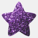 Beautiful Purple glitter sparkles Star Stickers
