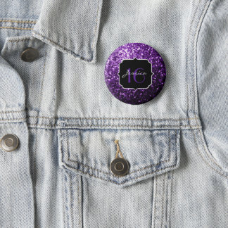 Beautiful Purple glitter sparkles Sweet 16 6 Cm Round Badge