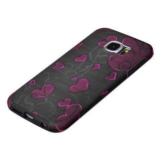 beautiful purple hearts with swirl art samsung galaxy s6 cases