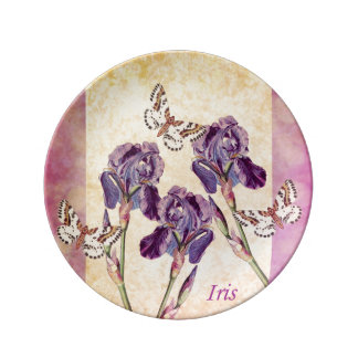 Beautiful Purple Iris Flowers and Butterfly Plate