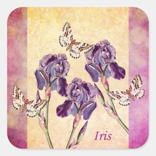 Beautiful Purple Iris Flowers and Butterfly Square Sticker