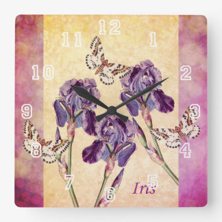 Beautiful Purple Iris Flowers and Butterfly Square Wall Clock