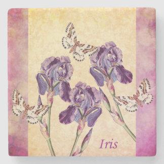 Beautiful Purple Iris Flowers and Butterfly Stone Coaster