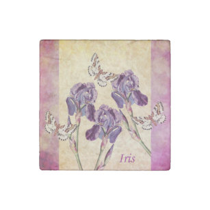 Beautiful Purple Iris Flowers and Butterfly Stone Magnet