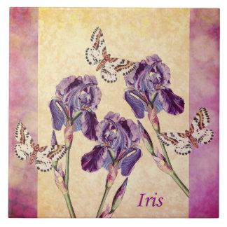 Beautiful Purple Iris Flowers and Butterfly Tile