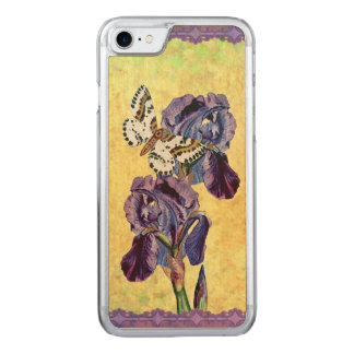 Beautiful Purple Iris Flowers Butterfly Carved iPhone 7 Case