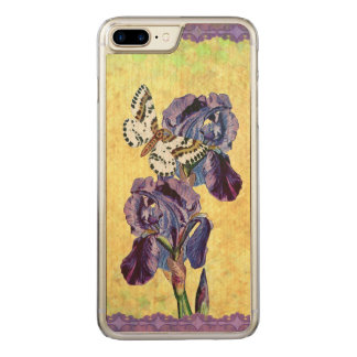 Beautiful Purple Iris Flowers Butterfly Carved iPhone 7 Plus Case