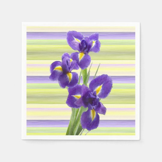 Beautiful Purple Iris Watercolor Stripes Pattern Disposable