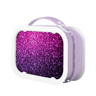 Beautiful Purple Pink Ombre glitter sparkles Lunchbox