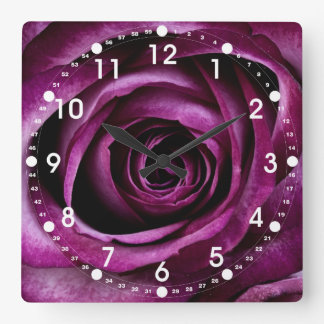 Beautiful Purple Rose Flower Petals Girly Gifts Square Wall Clock
