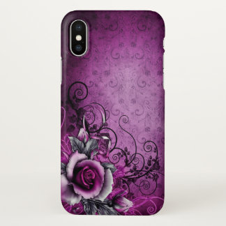beautiful purple rose swirl art iPhone x case