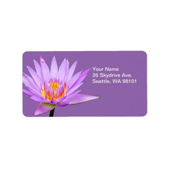 Beautiful Purple Water Lily Address Label