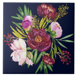 Beautiful Purple Wine and Pink Peonies on Navy Large Square Tile