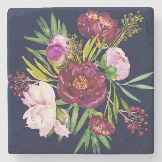 Beautiful Purple Wine and Pink Peonies on Navy Stone Coaster
