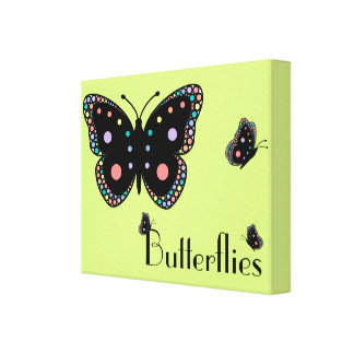 Beautiful Rainbow Butterflies (Green Background) Stretched Canvas Print