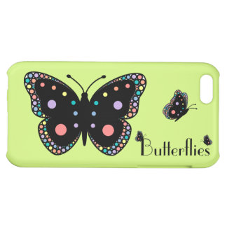 Beautiful Rainbow Butterflies (Green Background) iPhone 5C Covers