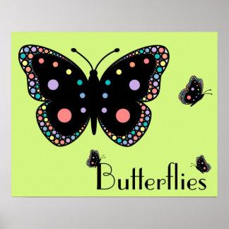 Beautiful Rainbow Butterflies (Green Background) Poster