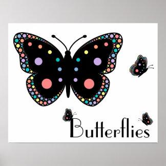 Beautiful Rainbow Butterflies Poster
