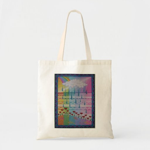 Beautiful rainbow colours tote by Soozie Wray Canvas Bag