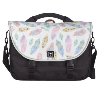 Beautiful rainbow feathers watercolour pattern laptop shoulder bag