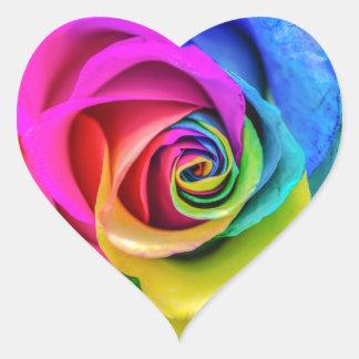 Beautiful Rainbow Rose Flower Heart Sticker