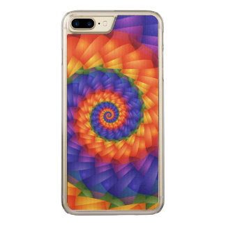 Beautiful Rainbow Spiral iPhone 6 Plus Wood Carved iPhone 8 Plus/7 Plus Case
