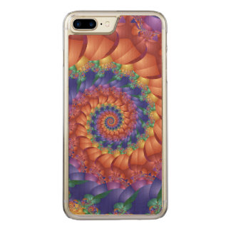 Beautiful Rainbow Spiral iPhone 6 Plus Wooden Carved iPhone 8 Plus/7 Plus Case