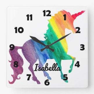 Beautiful Rainbow Unicorn Personalized Kids Girly Square Wall Clock