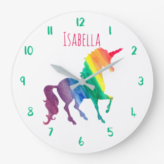 Beautiful Rainbow Unicorn Personalized Kids Girly Wall Clocks