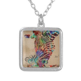 Beautiful Rainbow Water Colored Zebra Square Pendant Necklace