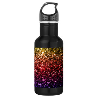 Beautiful rainbow yellow red purple sparkles 532 ml water bottle