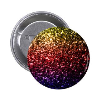 Beautiful rainbow yellow red purple sparkles 6 cm round badge