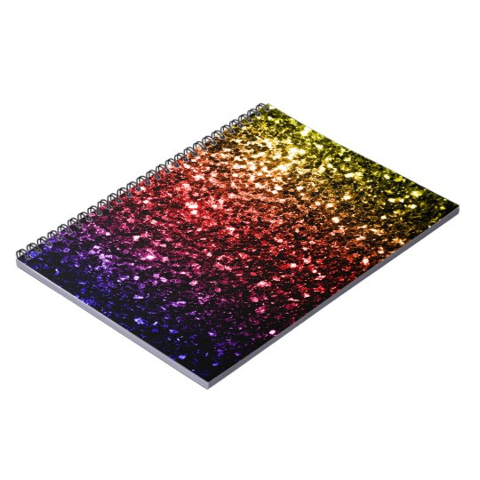 Beautiful rainbow yellow red purple sparkles notebooks
