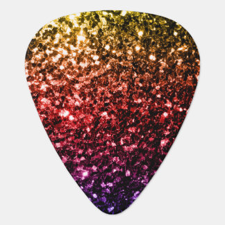 Beautiful Rainbow yellow red purple sparkles Plectrum