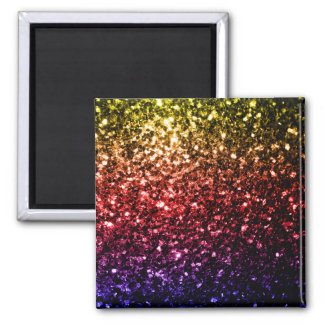 Beautiful rainbow yellow red purple sparkles square magnet