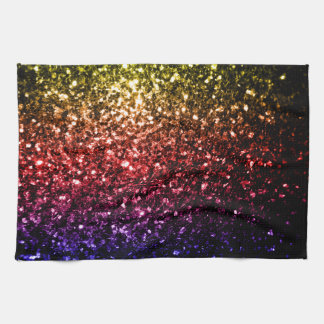 Beautiful rainbow yellow red purple sparkles tea towel